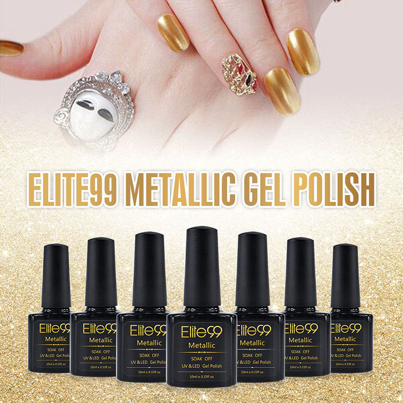 Elite99 Metallic Mirror Effect Soak UV Gel Nail Polish Metal Firebrick 10ml Color Art Top Manicure Tools - Royal Beauty store