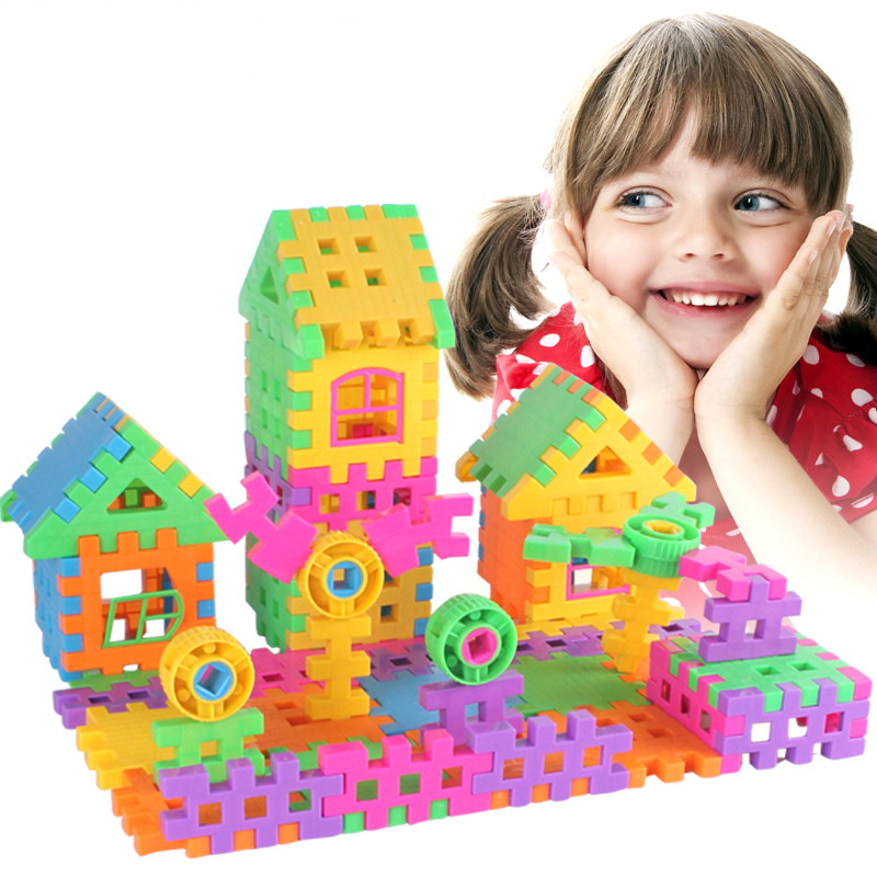 108 pieces children toy bricks multicolour large size plastic house jigsaw puzzle toy child edaucational toys(China (Mainland))