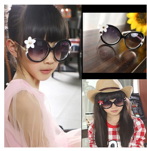 new 2015 fashion girls sunglasses kids mirror sun glasses flower pattern plastic and metal frame glasses for children eyewear(China (Mainland))