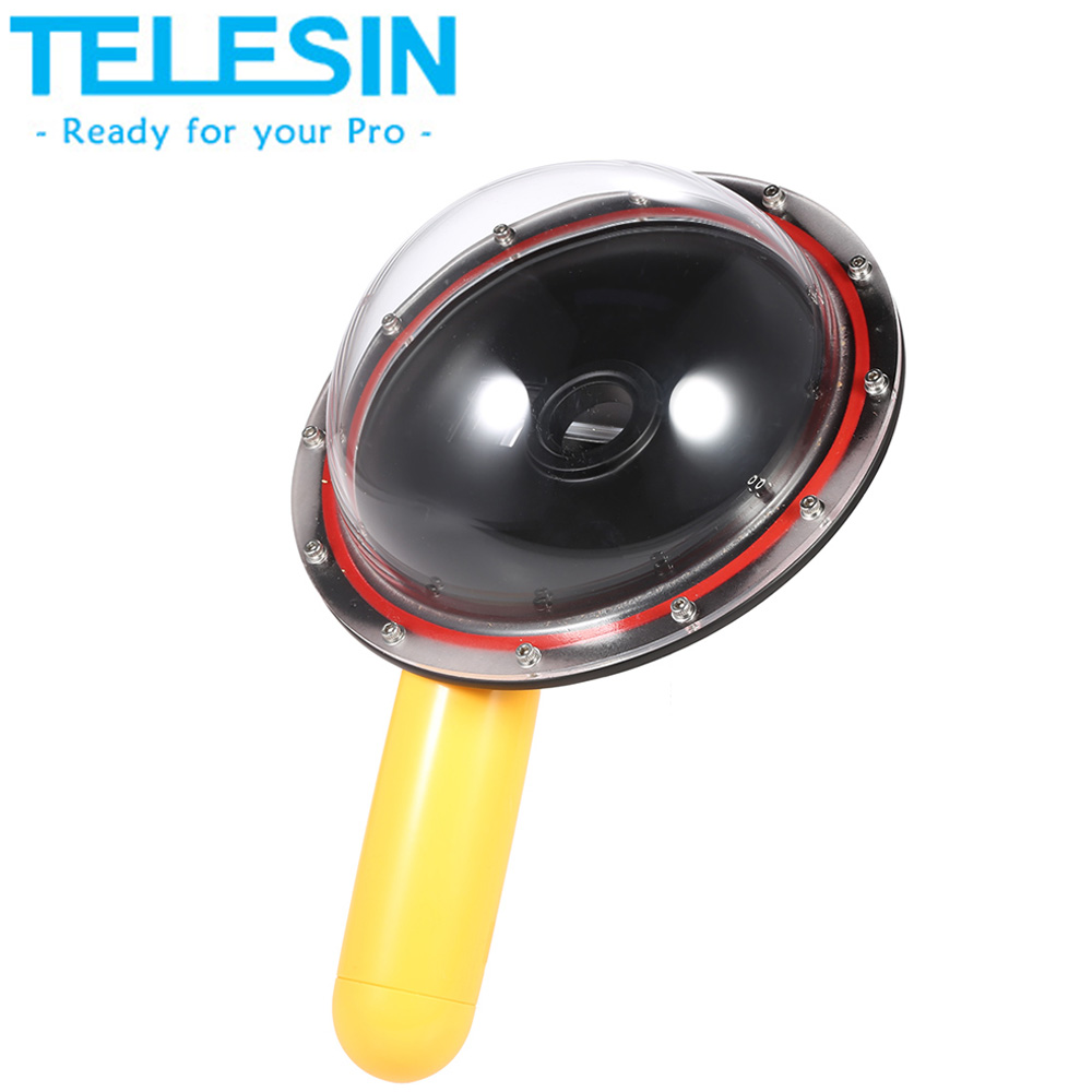 Clearance Sale TELESIN Upgrade Advanced Dome Port with Floaty Grip for Gopro Hero 4 3+ 3 Action Camera Underwater Photography(China (Mainland))