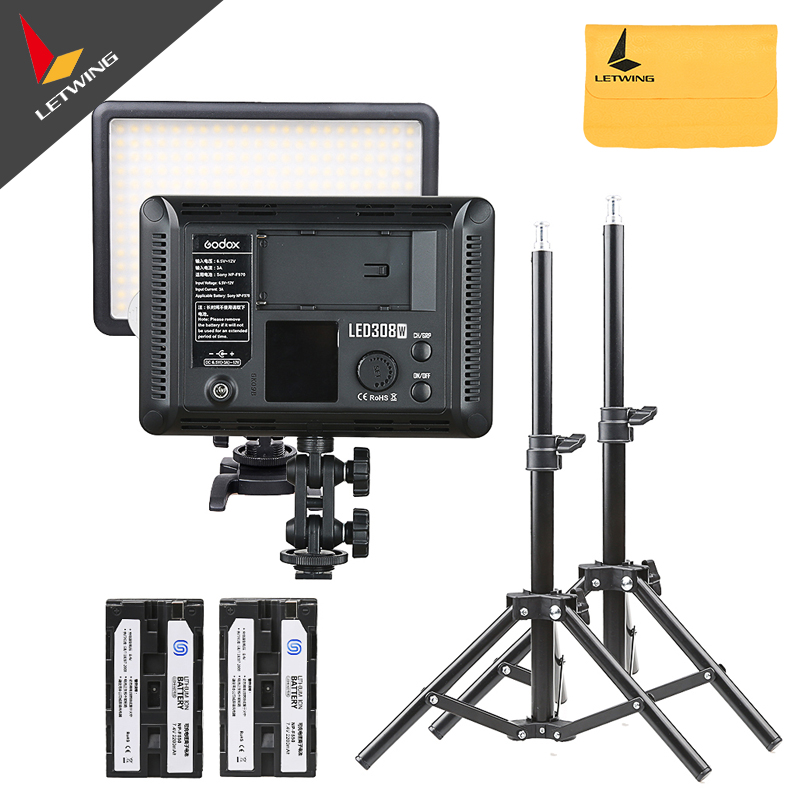 2X Godox LED308W 5600K Video Light + 80cm Light Stand + 2200mAh Rechargeable Li-on Battery Free DHL <br><br>Aliexpress