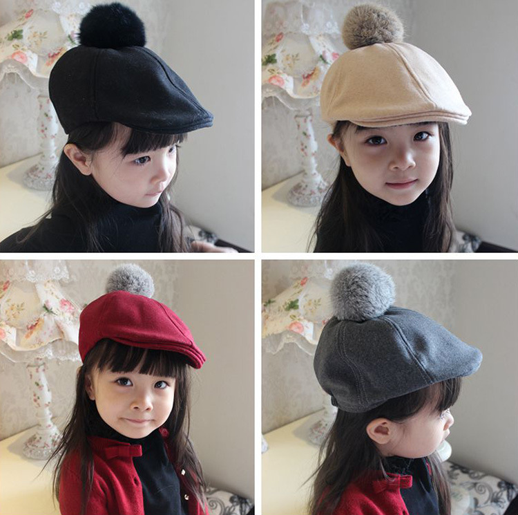 Children in autumn and winter fashion baby baby hat sleeve head cap rabbit ball wool Princess tide peaked cap(China (Mainland))