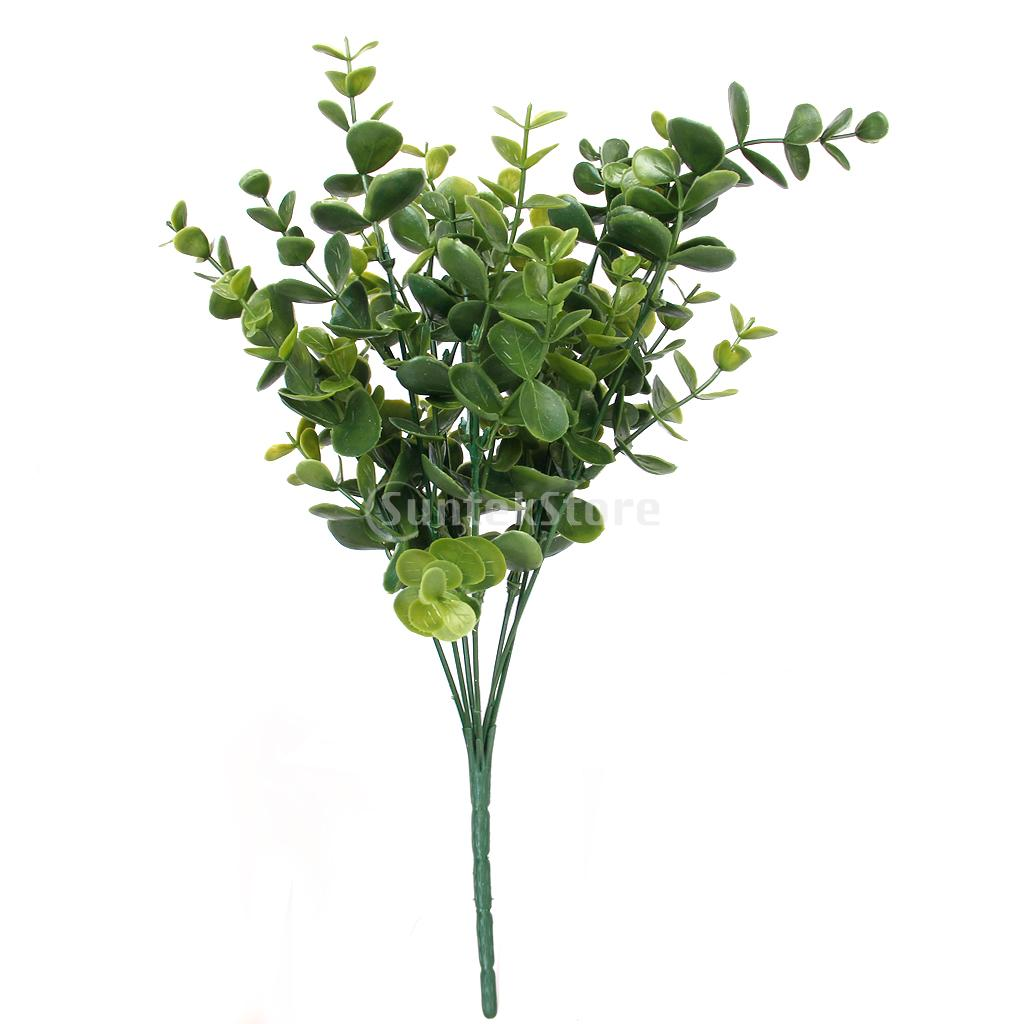 New Arrivals 2015 Green Artificial Plastic Large Leaves Plant 7 Branches Eucalyptus Grass For Home Wedding Decor Free Shipping(China (Mainland))