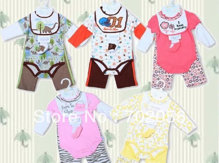 Baby boys girls 4pcs set cotton Bodysuits Pant bibs Socks Romper sleeper 12 sets/lot #2936<br>