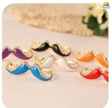 (Min Order $10 +Gift)  Europe and the United States retro hot moustache Cubic Zircon diamond double finger ring   X031