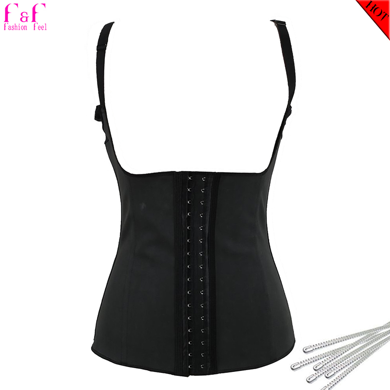 Black Latex Shaper Waist Trainer Training Corsets Spiral Steel Bone Shaperwear Underbust Strappy Belly Band Burb Fat Cincher USA(China (Mainland))