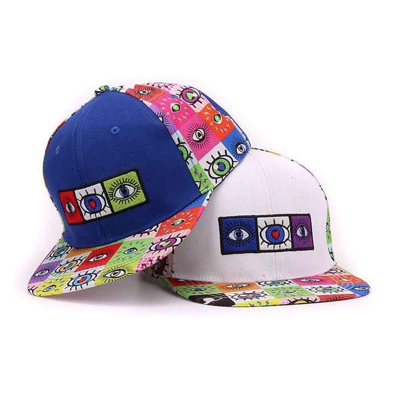 Cotton 6 panels snapback eyes embroidery and printed flat bill men baseball cap hip hop hat and cap for men and women(China (Mainland))