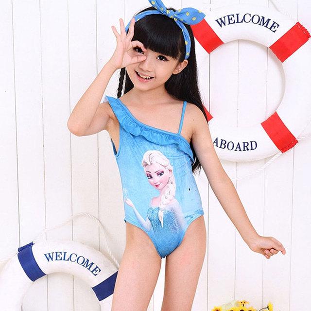 Лето девушки купальник ребенком дети купальный костюм персонажа из мультфильма печатных пляжной слэш-образным вырезом ремешками цельный купальники