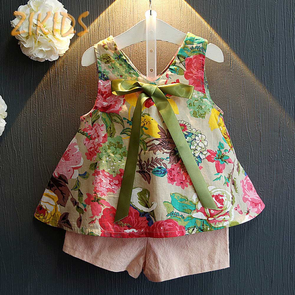 Floral Print Girls Children Clothes Suit Colorful Vest+Solid Short Pants Cute Bow Summer Baby Girl Clothing Sets Fashion Cotton(China (Mainland))