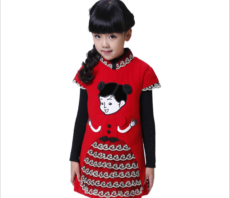 China style thicker characters pattern dress for girls  Winter chinese new year clothes  Plus Thick Velvet 7 age girl lace dress<br><br>Aliexpress