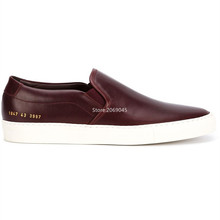 Original Common Projects Achilles Shoes Men Women Genuine Leather Sheepskin Red Casual Platforms Shoes Woman Italy Chaussures