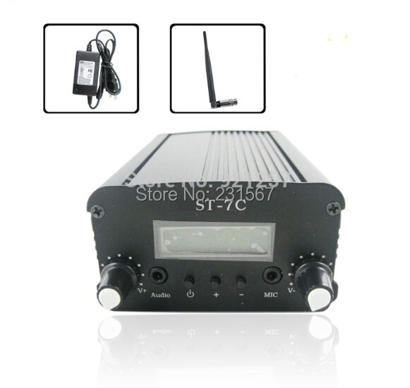 7W/1W FM stereo PLL transmitter +Small Antenna + Power supply Free shipping(China (Mainland))