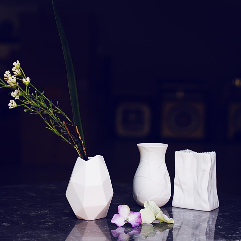 Creative Handmade White Porcelain Flower Vase Table Top Matte Ceramic Flower Holder Container 3 Models Choosing Home Desk Decor(China (Mainland))