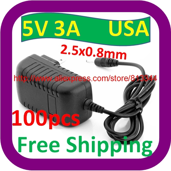 100 pcs Free Shipping DC 2.5mm Port USA Pulg Charger Power Adapter Adaptor 5V 3A Output for Novo Hero II Tablet PC Laptop(China (Mainland))