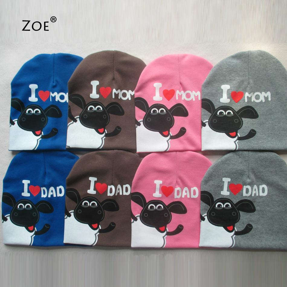 Hot ! Baby Hat Outdoor Children's Hats For Boys Bnitted Shaun Sheep Newborn Photography Props I love Mama Papa Print Baby Cap(China (Mainland))