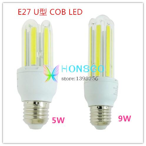 U Shaped COB LED E27 Bulb 3U 9W 5W AC85V-265V 220V 110V Universal Led Lamp Crystal Light bedroom bathroom Household saving lamps(China (Mainland))