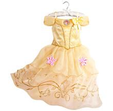 Belle שמלה לילדים תחפושת רפונזל מסיבת חתונה שמלת תלבושות ילדים בנות נסיכת שמלת Belle שינה יופי אורורה תלבושות(China)