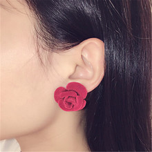 11.11 Promotion Women Stud Earrings Red Blue Black Rose Flower Piercing Post Earring Girls Christmas Wedding Jewelry Accessories(China (Mainland))