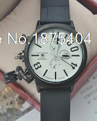 2015 New Mens Automatic White Self-wind Watch Boat Big 50mm watches Black U Rubber CHRONOGRAPH U1001 Left Hook Hand With Logo(China (Mainland))