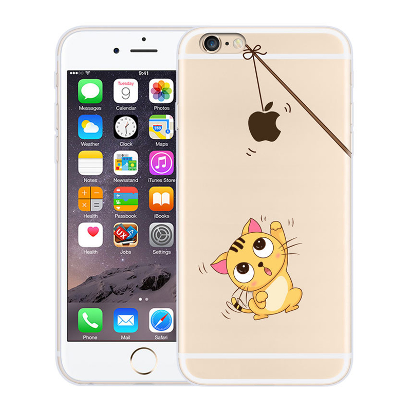 Cute Cartoon Animal Creative Soft TPU Transparent Phone Cover Silicone for Apple iPhone 6s 6 Plus Phone Case With Dust Plug(China (Mainland))