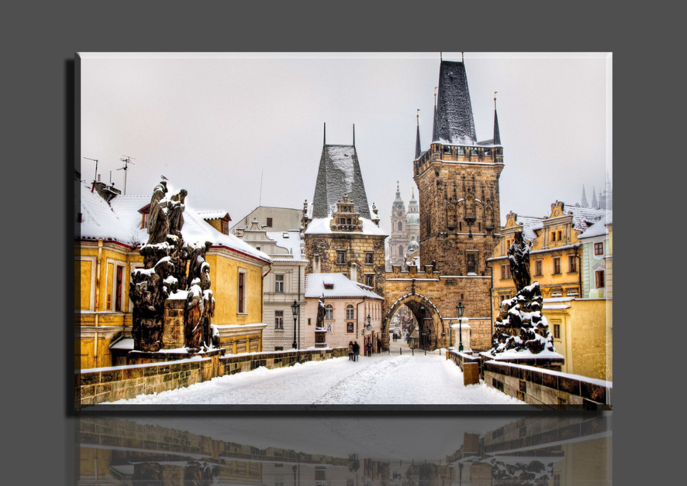 Free shipping 1 Piece Hot Sell Winter Castle Modern Home Wall Decor Canvas Art HD Print Painting 80cmX120cm
