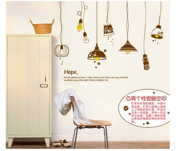 Cheap Wall Paper Bright Light Wall Sticker For Kids Room Bedroom Home Decoration Size 60 90cm