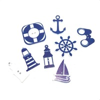 Hot Sale New Mixed Wood Craft Scrapbooking Blue Ocean Sailing Pattern White Ground 50Pcs/lots Using For Decor