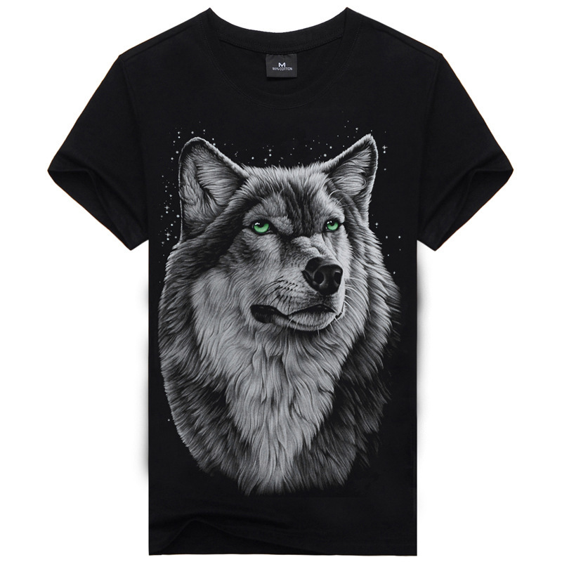 2015 high quality 100% cotton 3D printed Men's short-sleeved t-shirt leisure style The Moonlit Wolf Series J1012(China (Mainland))