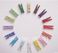 Free shipping!!3 cm color small wood clip photo clip.(12 color can choose)(China (Mainland))