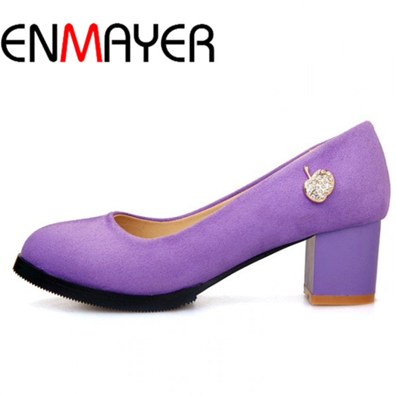 ENMAYER Big size 34-47 Fashion Round Toe High Heels shoes Sweet Platform pumps shoes Women Pumps Casual wedding shoes