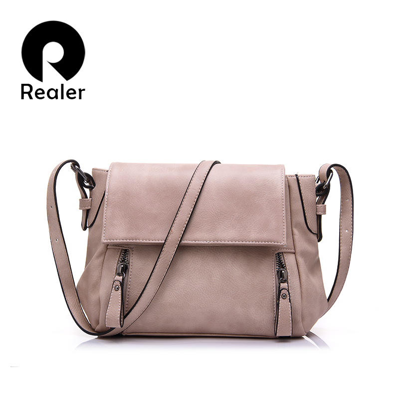 Hot Realer Brand PU Leather Women Messenger Bag Popular Solid Crossbody Bag Pillow Bag With Zipper Decoration 5 Colors Available(China (Mainland))