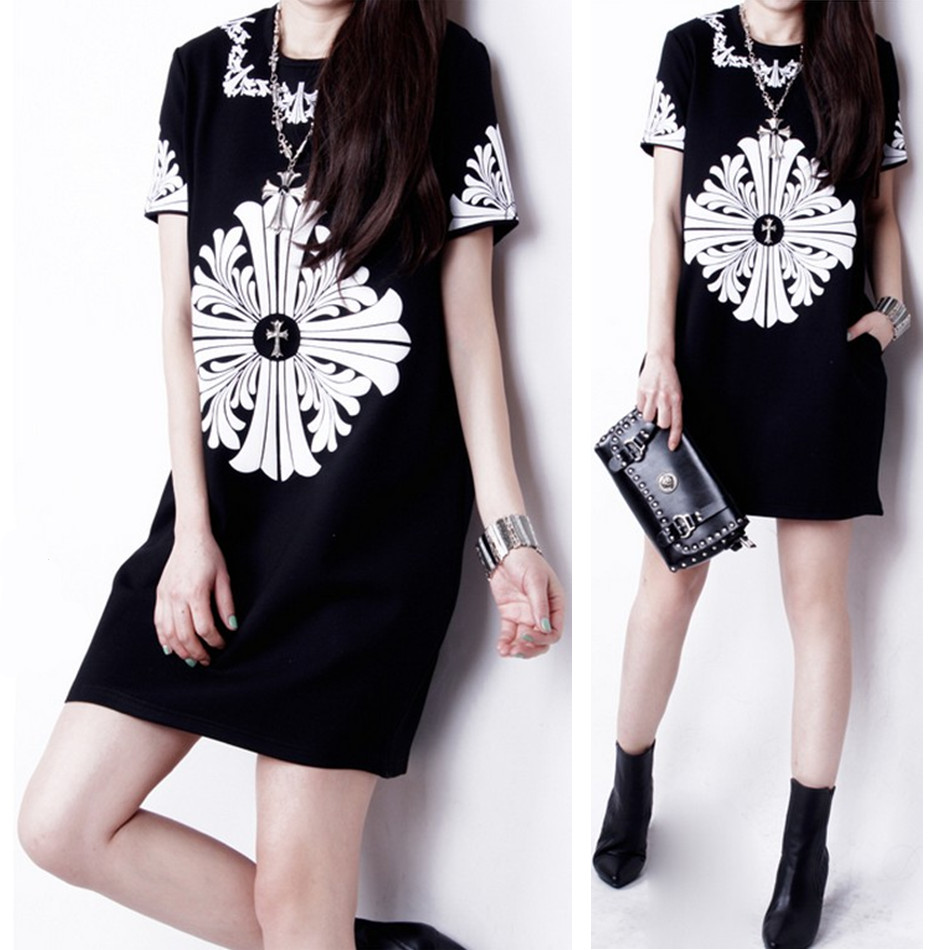 2014 summer one-piece dress fashion plus size clothing vintage short-sleeve o-neck slim hip basic skirt - jim yue's store