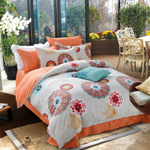 100% cotton Chinese classical calico style blossoming flower white background duvet cover set Queen Double size bedding set(China (Mainland))