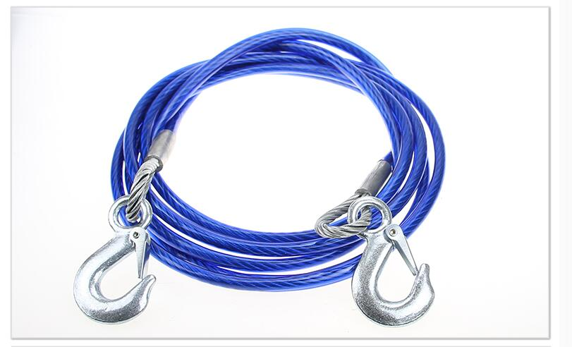 Car Auto Truck 4 Tons Pulling Strap Cable Steel Tow Rope With Hook(China (Mainland))