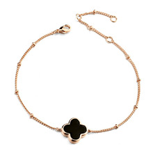 ITALINA JEWELRY Four Leaf Clover Inlaid Shell Women Bangles & Bracelet Rose Gold Plated Double Side Shell Bracelets Jewelry(China (Mainland))