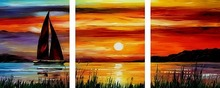 Buy 3 Pcs Hand Painted Frameless DIY Painting Numbers Canvas Oil Painting Home Decor Wall Picture Living Room Sea Boat Sunset for $18.71 in AliExpress store