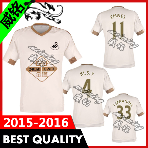 Swansea city jersey 2015 thai quality 15 16 home white shirt embroidered logo WILFRIED WILLIAMS GOMIS BRITTON RANGEL custom name(China (Mainland))