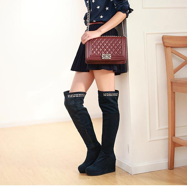 2015 Fashion over the knee boots Nubuck leather platform high heels wedges Motorcycle boots women autumn winter long boots C991<br><br>Aliexpress
