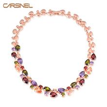 Buy CARSINEL Fashion Multicolor Round Necklaces Women Rose Gold-color Cubic Zircon Women Accessories Wholesale NE0070 for $12.75 in AliExpress store