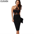 Olrain Women Sexy Black Sleeveless Off the Shoulder Lace Patchwork Hollow Out Party Bodycon Sheath Dress