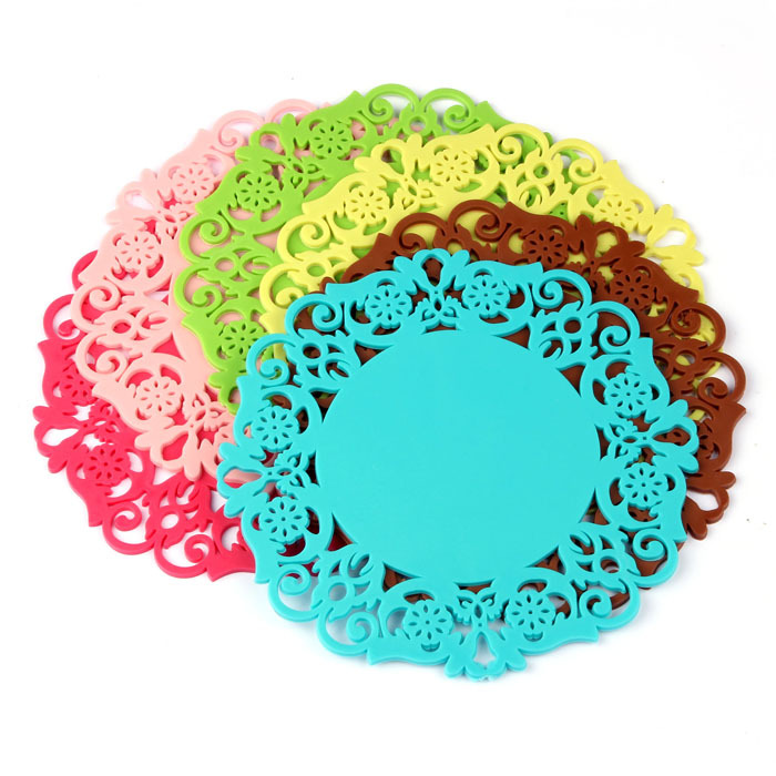 New 5X Lovely Silicone Lace Flower Cup Coaster Nonslip Cushion Placemat Anne(China (Mainland))