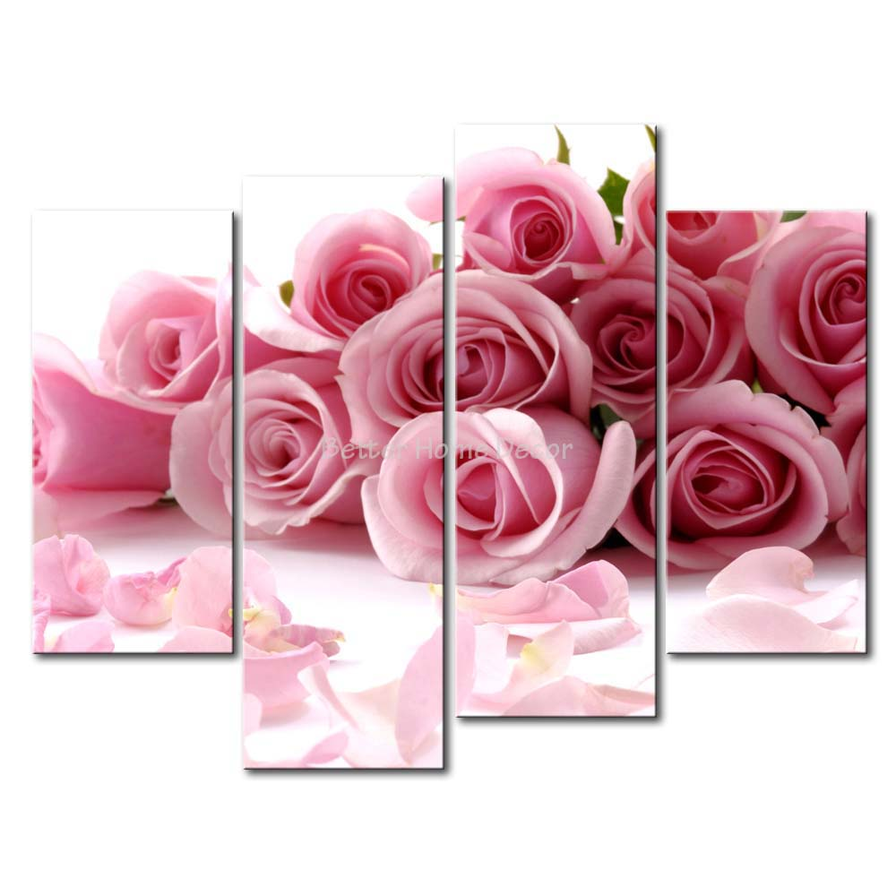 3 piece pink wall art painting pink roses picture print on for Pink wall art