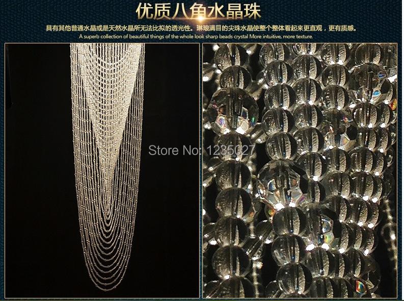 Купить Бесплатная Доставка Современная Длинные Кристаллы Подвесной Светильник D400MM/D500MM/D600MM Люстры Лестничные Светильники Гарантировано 100%