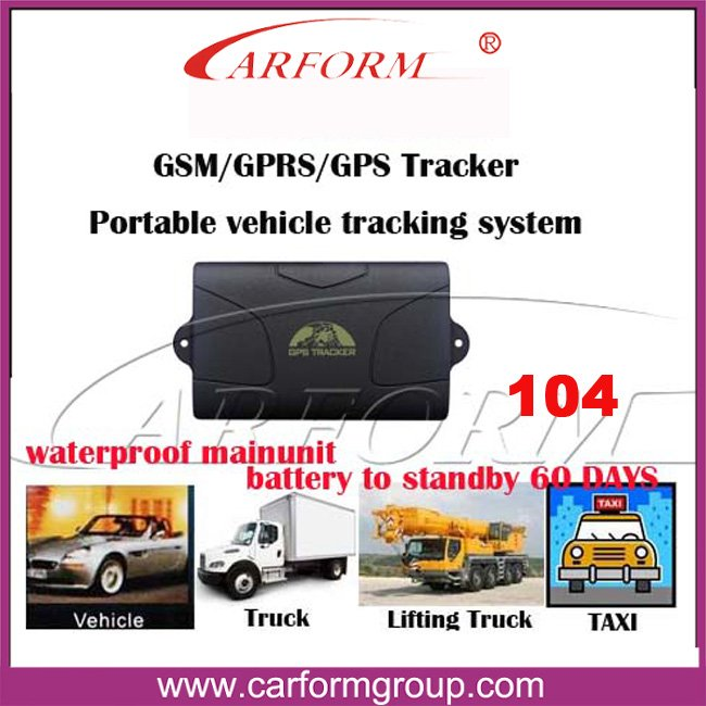 Car GPS tracker 104 Vehicle Realtime Tracker/Waterproof/For GSM GPRS GPS System/long standby battery 60 days/ free shipping(China (Mainland))