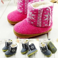 Free Shipping 2014 Fashion Winter Elk Pattern Thicker Plush Warm Infant Toddler Boots Pre Walkers Baby Shoes 4405