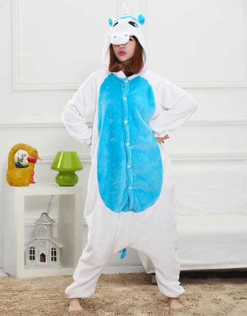 Синий единорог мужская взрослых фланели животных пижамы косплей Pijama Onesies пижама ...