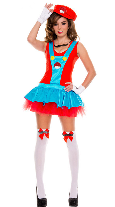 2015 New Arrival Fashion Holiday Super Mario Costumes Cap +Dress +Glove +G-string +Two Bow +Small Accessories At Neck(China (Mainland))