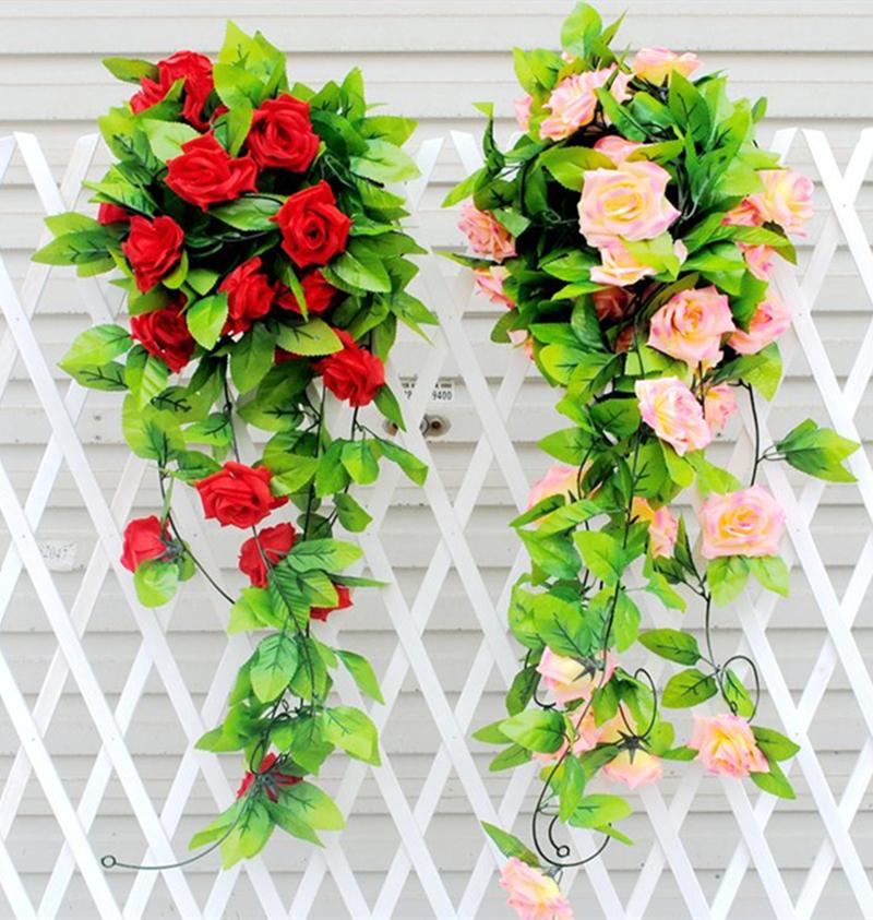 1PC Silk Rose Flower Fake Artificial Ivy Vine Hanging Garland home Wedding Decor