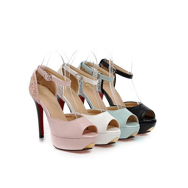 2015 summer new peep toe high hells solid color high-heeled shoes breathable and comfortable shoes for women D1046