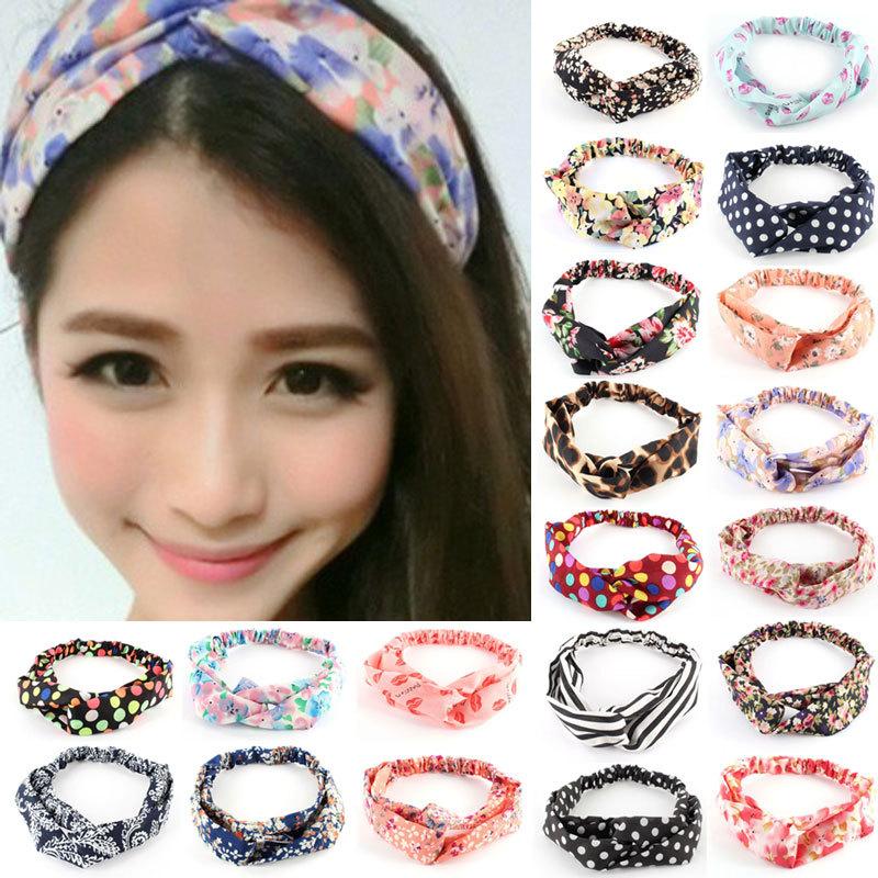 Hot Fashion New Women Girl Yoga Elastic Headwear Turban Floral Twisted Knotted Hairband Wrap Bandana Headband 20 Styles Z1(China (Mainland))